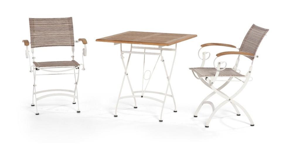 bellini dining teak stahl klappst hle und klapptisch. Black Bedroom Furniture Sets. Home Design Ideas
