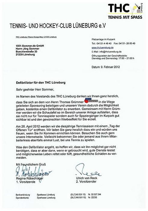 Defibrillator für den THC Lüneburg