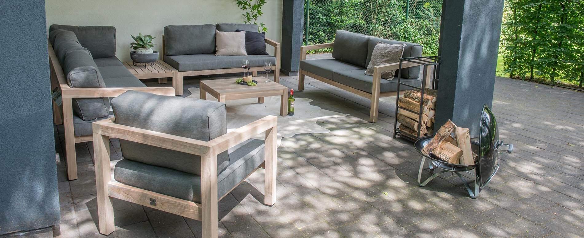 evora teakholz gartenm bel bequeme polster sofa module. Black Bedroom Furniture Sets. Home Design Ideas